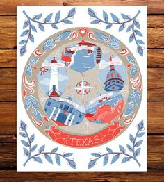 Show your love for state with this state art print in vibrant colors. The print features famous landmarks within the state, including buildings and tourists attractions. The perfect gift for a friend (or yourself) who is far away from home.