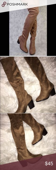 🎉SALE New Women's Tan Sexy Suede Over Knee Boots New Women's Suede Tan Over The Knee High Boots   Tan Suede; true to size  Heel (about 2 1/2 in.)  Above knee boots Half Zipper on the side  Box not included    ✔️Ships 1-3 day (except weekends)  ✔️Discount with bundles ✖️No Trades  ✖️I don't cancel any orders, please purchase once Shoes Over the Knee Boots