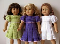 new knitting pattern;  PLEATED SUMMER doll dress