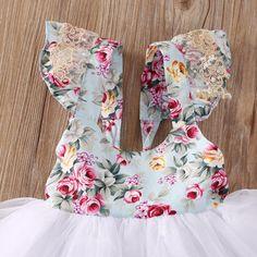 """The """"Angeline"""" Blue Floral Lace Tutu Dress - Angora Boutique - 3"""
