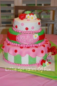 Strawberry short cake birthday cake