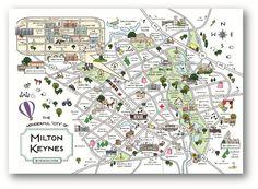 Cute Maps   MK Shop   Milton Keynes Souvenirs  MK Print