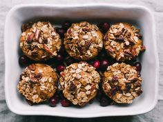Butternut Cranberry Muffins + Maple Pecan Crumble