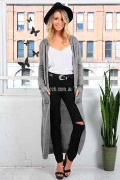 Nebraska Hooded Maxi Cardi in Grey $35.00  The Nebraska Hooded Maxi Cardi is a homey maxi cardigan, similar to the Into the Woods Cardigans. This cardigan features a hoodie and pockets, as well as a slimming, lengthy shape much like the Into the Woods Cardis. However, this is made in a thicker, mohair-like knit and with no side splits. It'll look fabulous on taller ladies especially with an equally slimming pair of fitted pants.