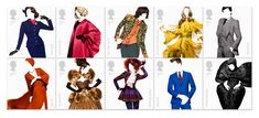Johnson Banks designed postage stamps that celebrate the last 60 years of British fashion