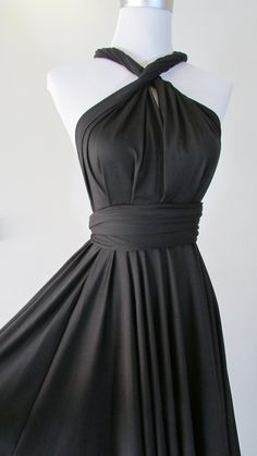 FREE BANDEAU Little Black Dress Convertible Dress in Dark cocktail Infinity Dress Multiway Dress Dark Wrap dress on Etsy, $33.15
