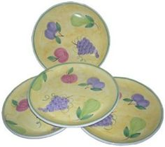 """Caleca Frutta 4-Piece Dinner Plate Set, Service for 4 by Caleca. $49.37. Includes four art; 409 dinner plates. All natural majolica/ceramic components individually hand-painted with non-toxic glazes and colors. Dishwasher safe; microwavable. Chip-resistant. Caleca pattern Frutta, a practical pattern theme that resembles fresh fruit on a sketched yellow background that looks so real that it is hard not to """"pick up"""" the fruit from the plate. Caleca pattern Frutta, a practical patt..."""
