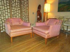 Mid Century Pair Barrel Club Chairs Low Hexigonal Faceted   eBay