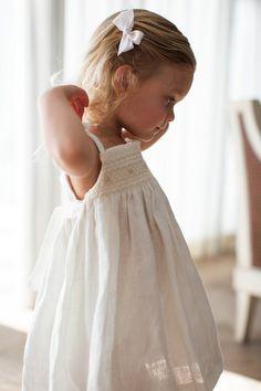 Veronique Hand Smocked Girl's Dress Western Wedding Dresses, Luxury Wedding Dress, Bridal Dresses, Girls White Dress, White Linen Dresses, Girls Smocked Dresses, Flower Girl Dresses, Crochet Summer Dresses, Event Dresses