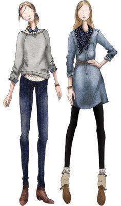 *** Denim Fashion Illustration, Christine Lynch