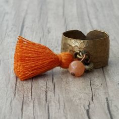 Boho Orange Tassel Dangle Charm Ring with Adjustable Hammered Brass Band Agate Gemstone, Agate Beads, Tassel Jewelry, Jewelery, Greek Jewelry, Brass Band, Charm Rings, Boho Rings, Statement Rings