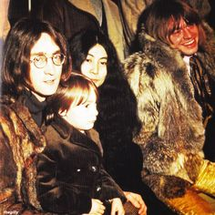 Brian Jones, Yoko, John and Julian backstage atthe Rolling Stones' Rock and Roll Circus, 11 December 1968