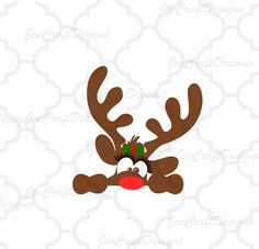Rudolph Girly Christmas Reindeer SVGEPS Png DXF by JenCraftDesigns