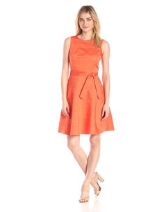 Sleeveless Self Tie Fit and Flare Dress by Calvin Klein