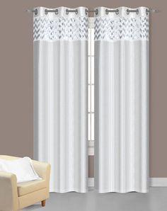 White Sparkle Chevron Curtains