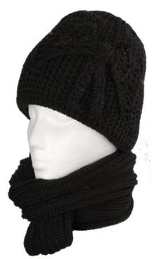 f390b357906 EH7821SNB - Womens 2-piece Knitted Beanie Scarf and Hat Set with Rhinetone  Bow Accent