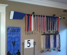 Cool way to hang up your rowing medals!  If only I were to get medals from here on out....