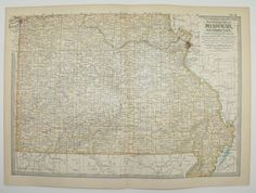 Southern Missouri Map 1902 Original Vintage Map, State County Map, Midwest Travel Map, Gift Idea Under 20 for the Home, Wall Map Art Gift by OldMapsandPrints on Etsy