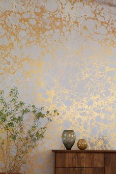 Peonies + Brass - GOLD marble wallpaper OBSESSED
