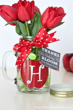 Teacher Appreciation Week - Teacher Flowers in Mason Jar Gift Idea