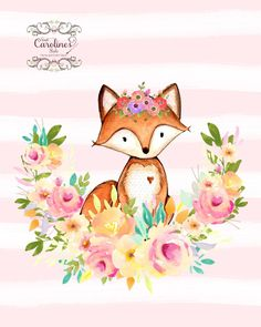 "Kinderzimmer Fox Wall Art - 8 ""x - Woodland Kinderzimmer Dekor - Kunstdruck , Wall Art Sets, Wall Art Prints, Woodland Nursery Prints, Watercolor Animals, Cute Illustration, Nursery Wall Art, Cute Drawings, Picts, Woodland Creatures"
