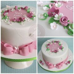 Christening Cake for girls with super elegant bow, flowers and butterflies and personalised message by Just Because CaKes   www.justbecausecakes.co.uk