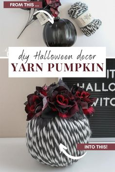 Turn a foam pumpkin into a chic DIY Halloween decoration with yarn! How cute is this Halloween yarn pumpkin? Halloween Yarn, Diy Halloween Food, Halloween Home Decor, Halloween Pumpkins, Halloween Decorations, Diy Crafts For Adults, Easy Diy Crafts, Diy House Projects, Diy Craft Projects