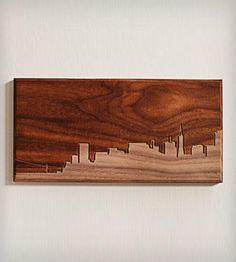 "San Francisco Skyline Wood Art - 4"" x 8"""