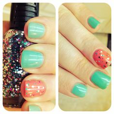 Teal, coral, & glitter!!