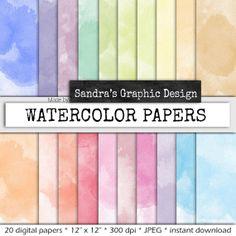 Waterverf digitaal papier WATERVERF PAPIER door SandraGraphicDesign