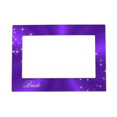 Purple Satin Sparkly Bride's Frame Magnet