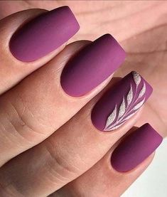 A manicure is a cosmetic elegance therapy for the finger nails and hands. A manicure could deal with just the hands, just the nails, or Nail Art Violet, Matte Purple Nails, Purple Nail Art, Red Nail Art, Purple Nail Designs, Nail Art Designs, Nails Design, Pedicure Designs, Matte Nail Art