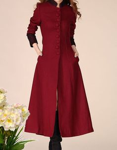 Long red cashmere dress coat big sweep women wool winter coat long jacket large size wmen coat windcheater outercoat windbreaker