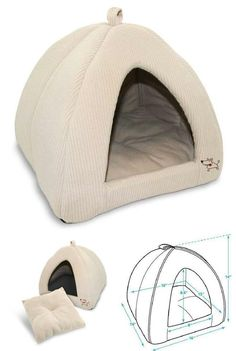Dog Cat Pet Cave Tent Bed Medium XLarge Machine Washable Soft Poly Foam Corduroy Description ---PLUSH PET TENT: We've designed these tent houses for dogs and cats using faux suede, linen or corduroy and each comes with soft poly-foam lining. ---GREAT INDOOR LOOK: The timeless style of our corduroy beige plush pet beds allows them to seamlessly blend into any décor. ---COZY HOUSE: The dimension of this indoor tent gives your pet a touch of privacy and creates a nice se Ferret Toys, Cat Toys, Pet Beds, Dog Bed, Dog Garden, Bed Tent, Secret Life Of Pets, Cat Crafts, Cat Furniture
