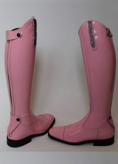 Patent pink Italian leather riding boots. What.