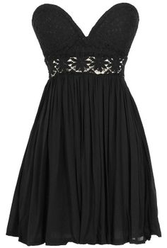 Fresh As A Daisy Strapless Lace Bustier Dress in Black  www.lilyboutique.com