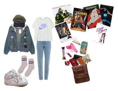 """1980s"" by skylamulrooney on Polyvore featuring WALL, NIKE, Universal Lighting and Decor, Retrò, Humör, Chapstick, Jac Zagoory Designs and Lodis"