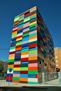 Colorful building in Madrid, Spain;  designed by Rafael Cañizares Torquemada;  photo by javier1949, via Flickr