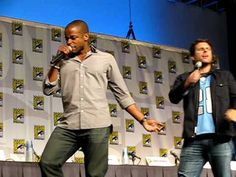 """James Roday, Dule Hill, and Curt Smith singing """"Shout""""    Overflowing with awesome."""