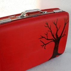 Red VINTAGE Suitcase with Large Black Tree and Leaves