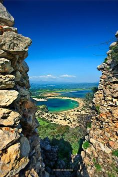 "View to Voidokoilia beach from Palaiokastro (means ""Old Castle"", also known as ""Palionavarino""), Pylos (Navarino), Messenia, Peloponnese, #Greece"