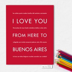 I Love You From Here To BUENOS AIRES art print - HopSkipJumpPaper  - 2