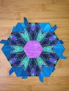 "Katja Marek's The New Hexagon - Millefiore Quilt-Along: Rosette 7: ""block 13 - Judy"" -- completed by Tracy Pierceall, 2/8/2016"