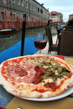 Pizza and Wine in Venice, Italy