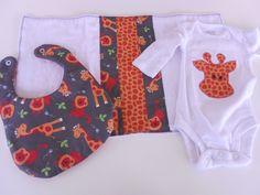 Custom Appliqued onesie bib and burp cloth set by Stitchedbygigi, $23.95