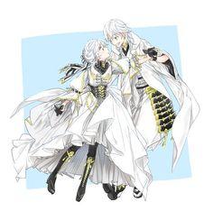 Mom says that we look exactly like dad the most. Anime Siblings, Anime Couples Manga, Cute Anime Couples, Anime Guys, Chica Anime Manga, Anime Chibi, Kawaii Anime, Anime Art, Touken Ranbu