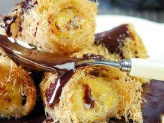 Ζεστά ρολάκια µπανάνας µε κανταΐφι και σάλτσα σοκολάτας - Daddy-Cool.gr