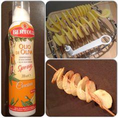Aardappeltwisters uit de Airfryer. Twister maken, sprayen met olie, 10 minuten op 160 graden. AK