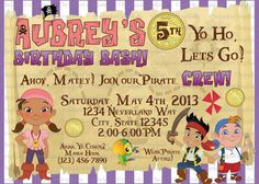 Jake or Izzy and the Never Land Pirates Birthday Invitation by ChrispixsCreations