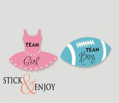 Gender Reveal Party Stickers, Tutu Team  Girl and  Football Team boy  Labels. Tutu and football Shaped Waterproof Sticker, Waterproof Labels by SticknEnjoy on Etsy